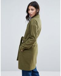 First & I - Green Belted Coat - Lyst