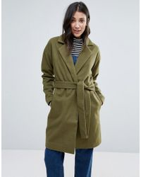 First & I Green Belted Coat