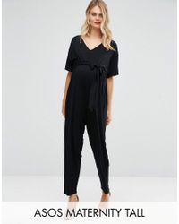 ASOS | Black Tall Belted Jumpsuit With Kimono Sleeve | Lyst