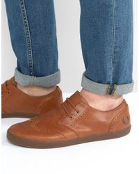 Fred Perry | Brown Byron Low Leather Brogue Sneakers for Men | Lyst