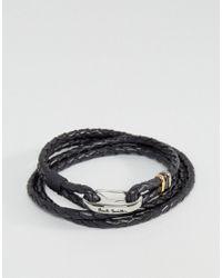 Paul Smith | Leather Wrap Bracelet In Black for Men | Lyst