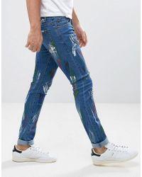 Liquor N Poker - Blue Skinny Jeans Paint Splatter for Men - Lyst