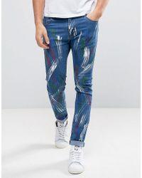 Liquor N Poker | Blue Skinny Jeans Paint Splatter for Men | Lyst
