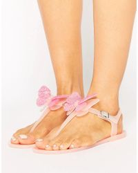 Miss Kg | Natural Dina Butterfly Toepost Jelly Flat Sandals | Lyst