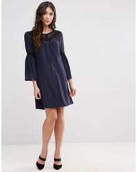Girls On Film Blue Flare Sleeve Dress