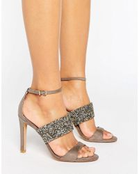Forever Unique | Natural Willow Multi Strap Heeled Sandal | Lyst