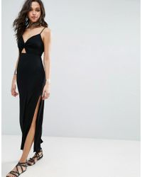 ASOS | Black Maxi Dress With Cut Out Front | Lyst