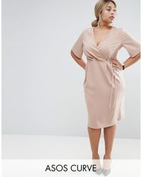 ASOS   Natural Midi Wrap Dress With Tie Detail   Lyst