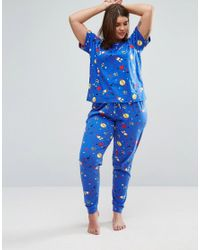 ASOS - Blue Space Print Short Sleeve Tee & Pjyama Pant Set - Lyst