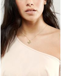Orelia - Metallic Gold Plated Large M Initial Necklace - Lyst