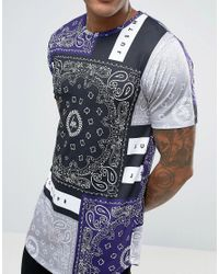 Hype T-shirt In Gray With Bandana Print for men
