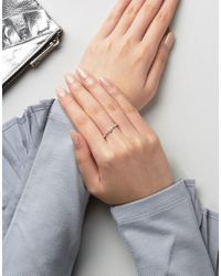 ASOS - Metallic Sterling Silver Chain Stone Ring - Lyst