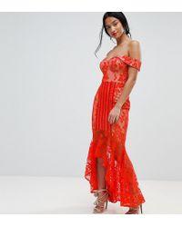 Jarlo Orange All Over Lace Off Shoulder Fishtail Midi Dress