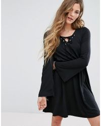 Glamorous | Black Lace Up Front Swing Dress | Lyst