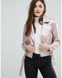 New Look | Pink Metallic Faux Leather Biker Jacket | Lyst