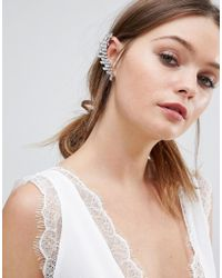 New Look - White Crystal Ear Cuff - Lyst