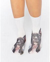Monki - Blue Dog Ankle Socks - Lyst