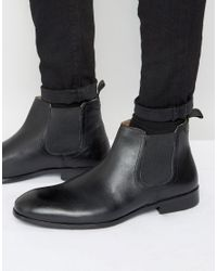 Red Tape Chelsea Boots In Black Leather for men