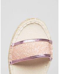 Love Moschino - Pink Glitter Espadrille Flatform Sandal - Lyst