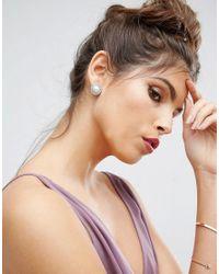 ASOS - Metallic Wedding Crystal Faux Pearl Stud Earrings - Lyst