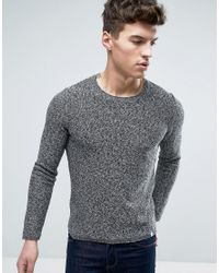 Jack & Jones | Gray Originals 100% Cotton Crew Neck Knitted Jumper In Mixed Yarn for Men | Lyst