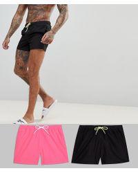 ASOS Asos Swim Shorts In Black & Neon Pink Short Length 2 Pack Multipack Saving for men
