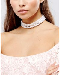 ASOS - Multicolor Chunky Faux Pearl Choker Necklace - Lyst