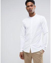 Reiss White Slim Pique Grandad Shirt for men