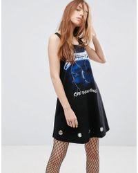 ASOS | Black Metallica Swing Dress With Eyelets | Lyst