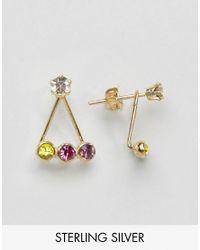 ASOS   Metallic Gold Plated Sterling Silver Rainbow Swing Earrings   Lyst