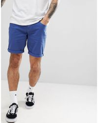 Pantaloncini di jeans slim blu francese di ASOS in Blue da Uomo