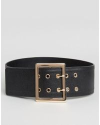 Glamorous - Black Wide Waist Belt With Gold Hardware - Lyst