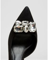 Dune Black Tia Suede Jewelled Court Shoe