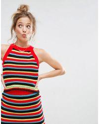 ASOS Red Co-ord Crochet Tank In Stripe