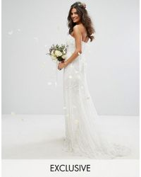 Amelia Rose | White Bridal Cowl Back Maxi Dress In All Over Embellishment | Lyst