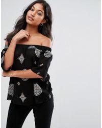AX Paris - Black Printed Off Shoulder 3/4 Sleeve Top - Lyst