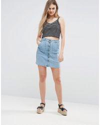 Vila Blue Denim Button Up Skirt
