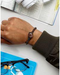 Classics 77 - Brown Leather Bracelet With Antique Copper Button for Men - Lyst