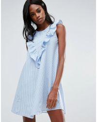 Vila Blue Ruffle Front Striped Shirt Dress
