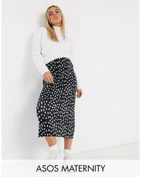 ASOS DESIGN Maternity - Jupe droite mi-longue plissée à pois - Noir et blanc ASOS en coloris Black