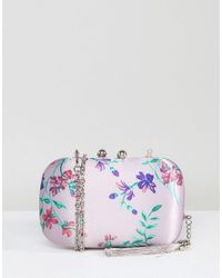 Chi Chi London - Multicolor Box Clutch Bag In Satin Floral Print - Lyst
