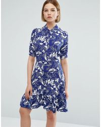 Closet Blue 3/4 Sleeve Leaf Print High Neck Skater Dress