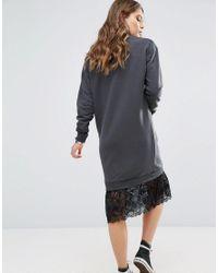 New Look Black Lace Hem Sweat Dress