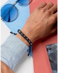 Seven London - Beaded Bracelet In Black/gray for Men - Lyst