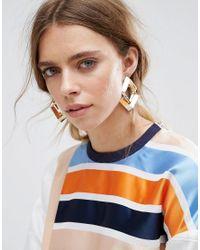 ASOS | Metallic Interlocking Open Shape Earrings | Lyst