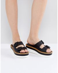 Warehouse | Black Flatform Buckle Sandal | Lyst