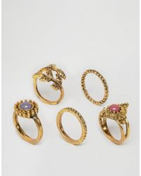 Ashiana   Metallic Multi Pack Of Rings With Leaf And Stone Detal   Lyst