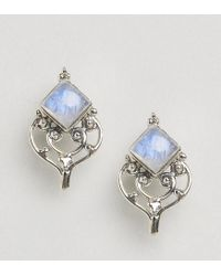 Rock N Rose - Metallic Rock N Rose Semi - Precious Moonstone Earrings - Lyst