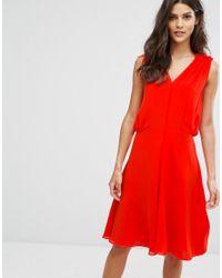 Reiss Red Stellie Ruffle Shoulder Dress