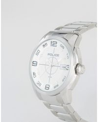 Police - Metallic Sniper Stainless Steel Bracelet With Silver Dial for Men - Lyst